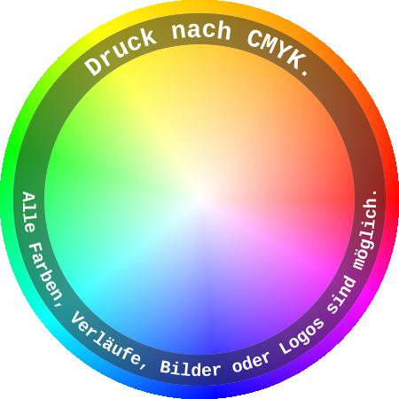 Mit allen Farben bedruckt